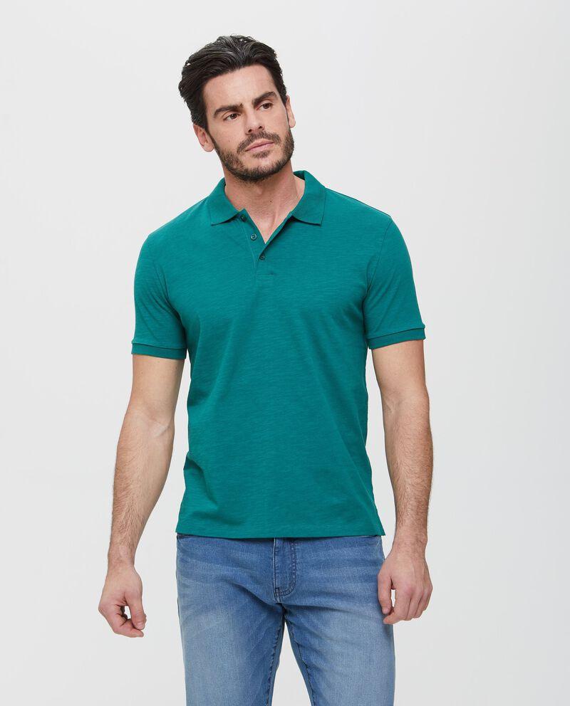 Polo in puro cotone verde effetto mélange uomo
