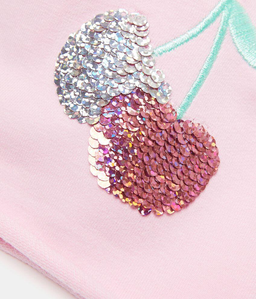 Berrettino con paillettes in cotone elasticato neonata double 2