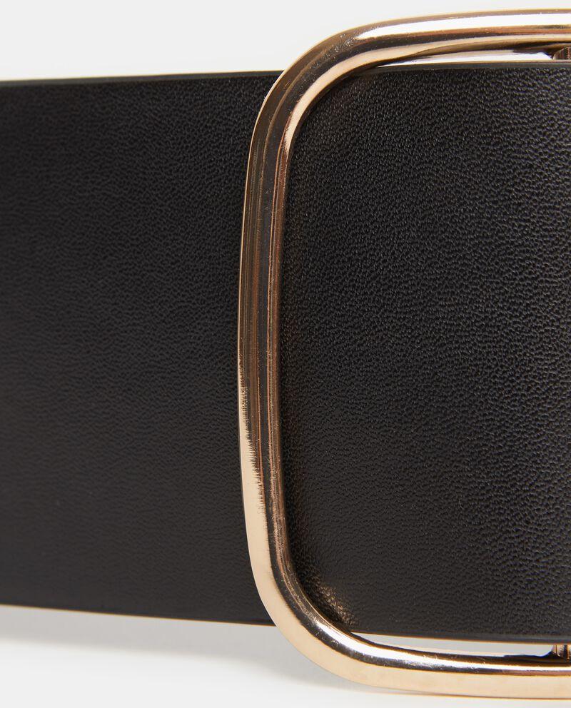 Cintura nera ampia con fibbia metallica donna