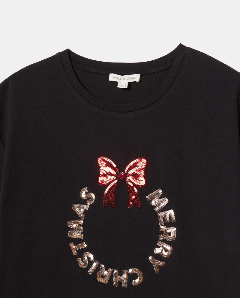 T-shirt con lettering in puro cotone donna