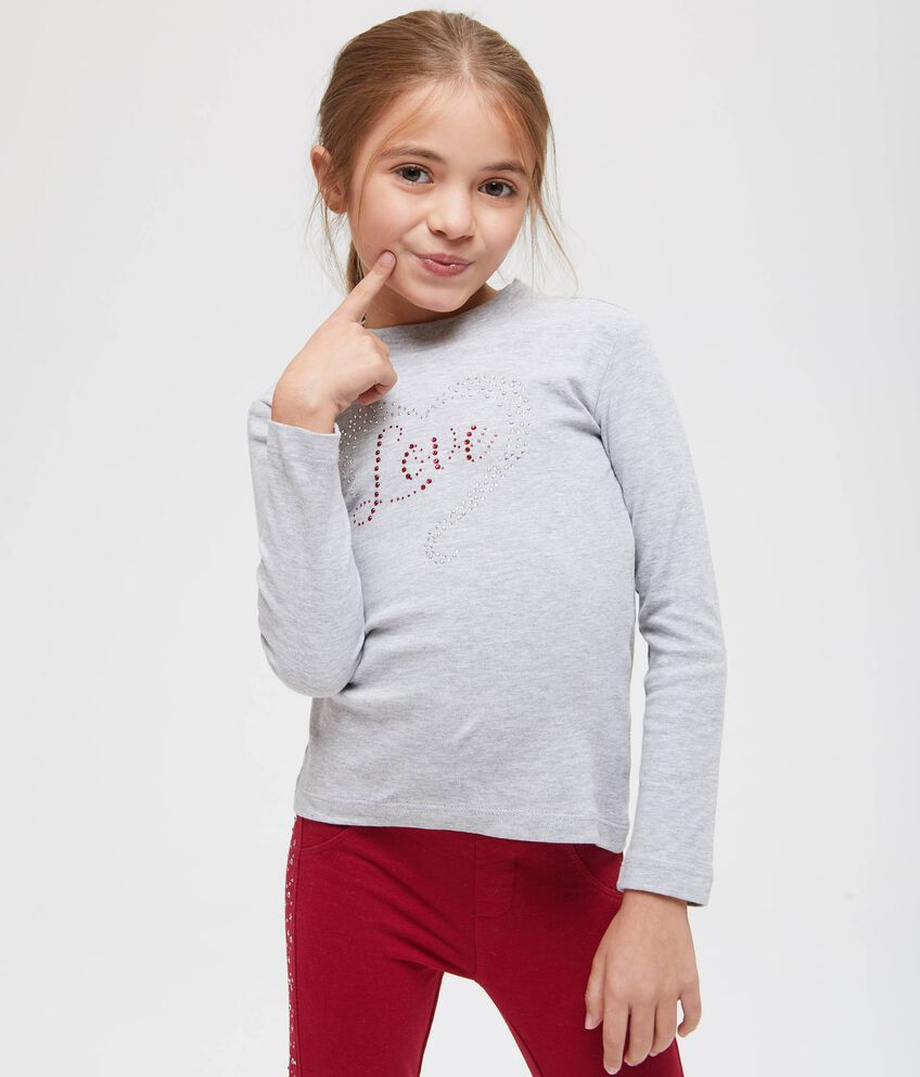 T-shirt maniche lunghe con strass