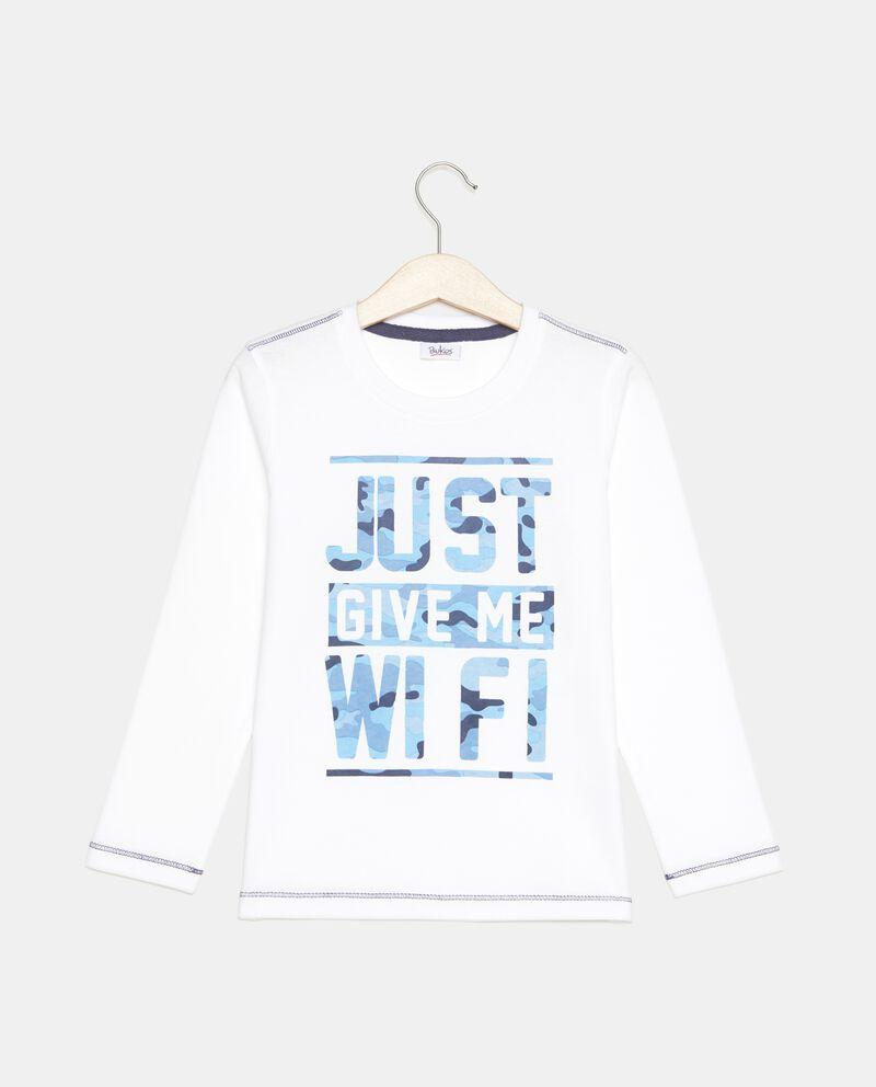T-shirt in puro cotone con lettering colorato bambino