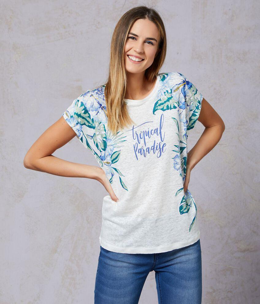 T-shirt con fantasia tropicale in puro lino donna