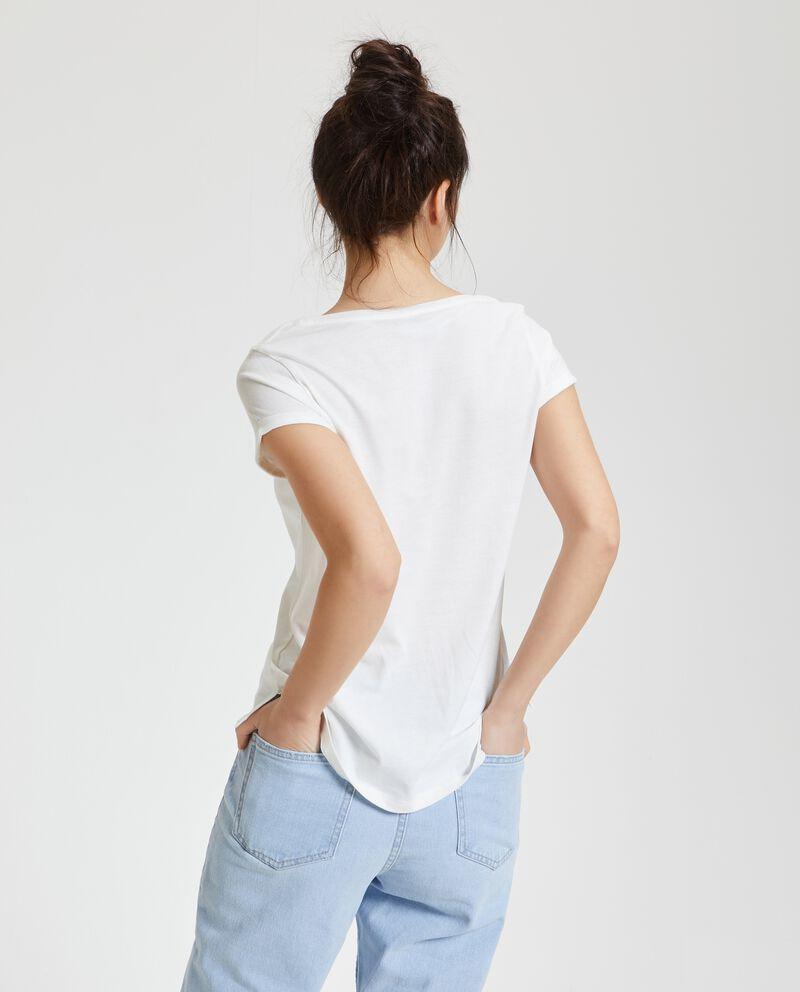 T-shirt in puro cotone con ricamo floreale donna