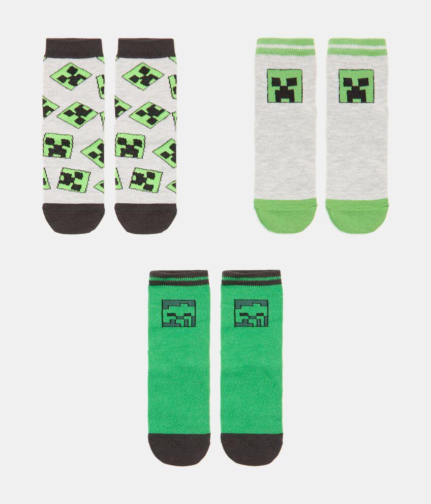 Pack con 3 paia di calzini cotone organico stampa Minecraft bambino double 1
