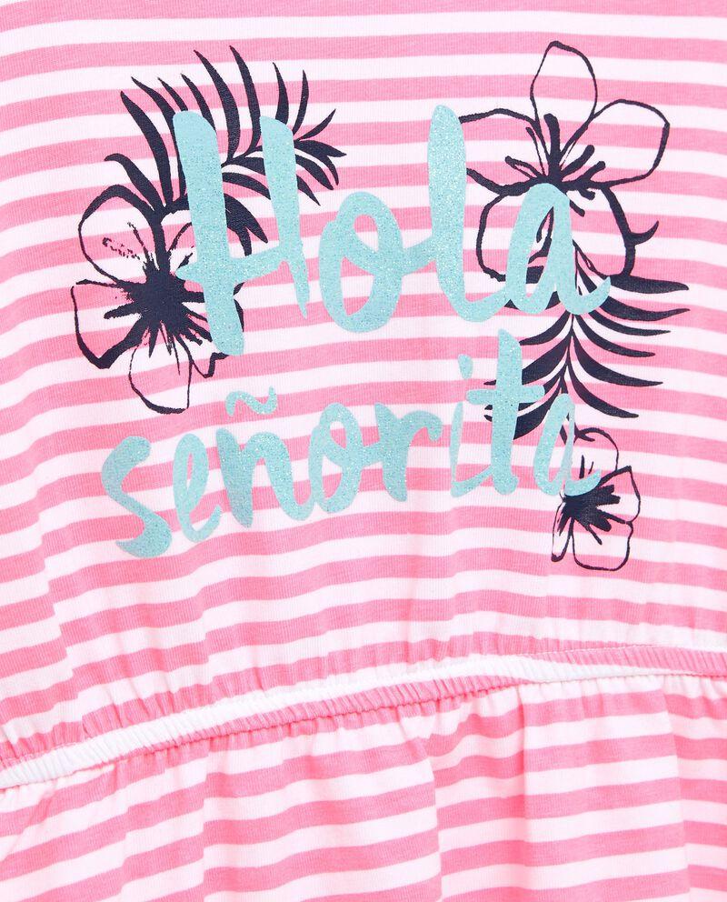 Vestito smanicato in cotone rosa con motivo a righe bambina