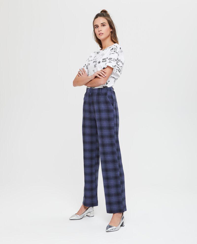 Pantaloni in lino e cotone a palazzo con fantasia tartan