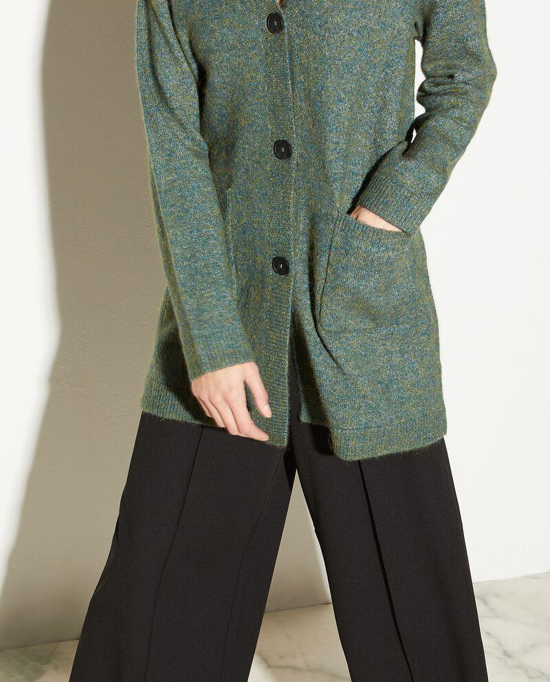 Cardigan tweed con tasche donna