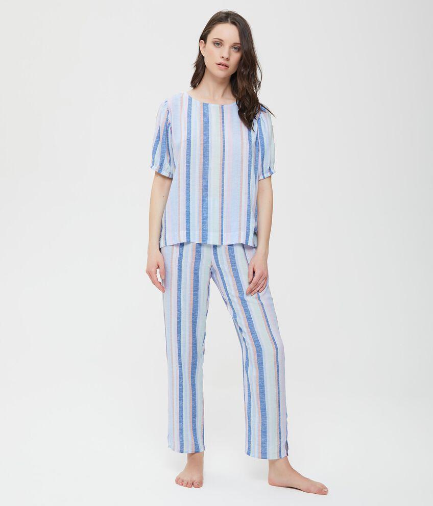 Top pigiama in pura viscosa con maniche a sbuffo donna