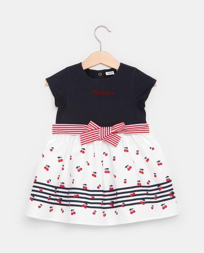 Vestito in puro cotone con fantasia ciliegie neonata