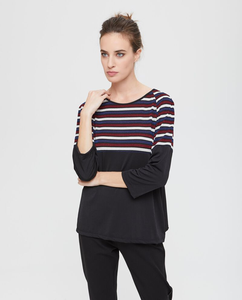 Blusa stretch inserto a righe