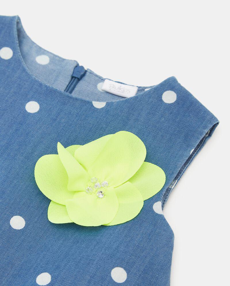 Vestito denim con motivo a pois in cotone organico neonata