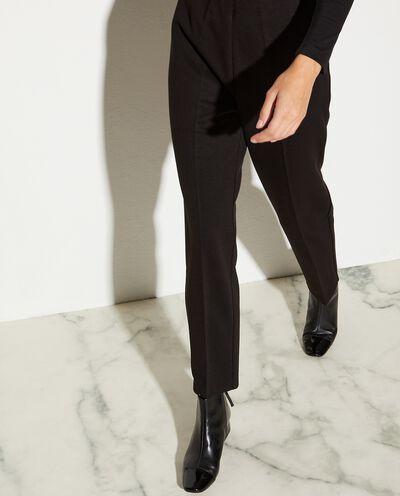 Pantaloni con pinces in tinta unita donna