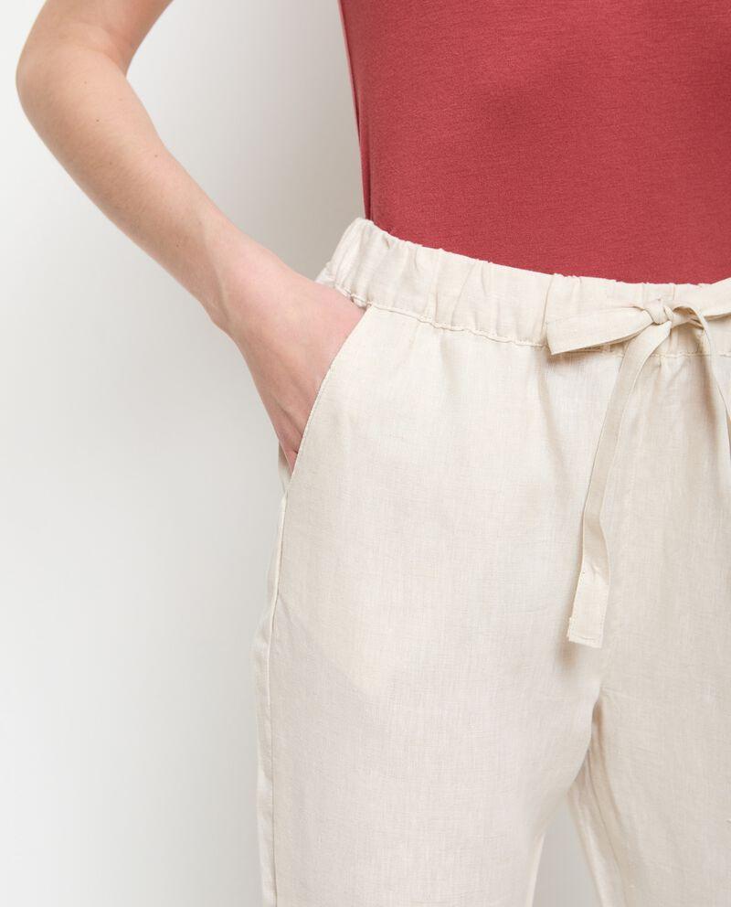 Pantaloni in puro lino capri donna