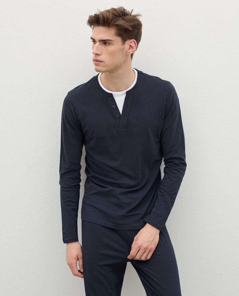 Maglia del pigiama in puro cotone con scollo a V uomo cover