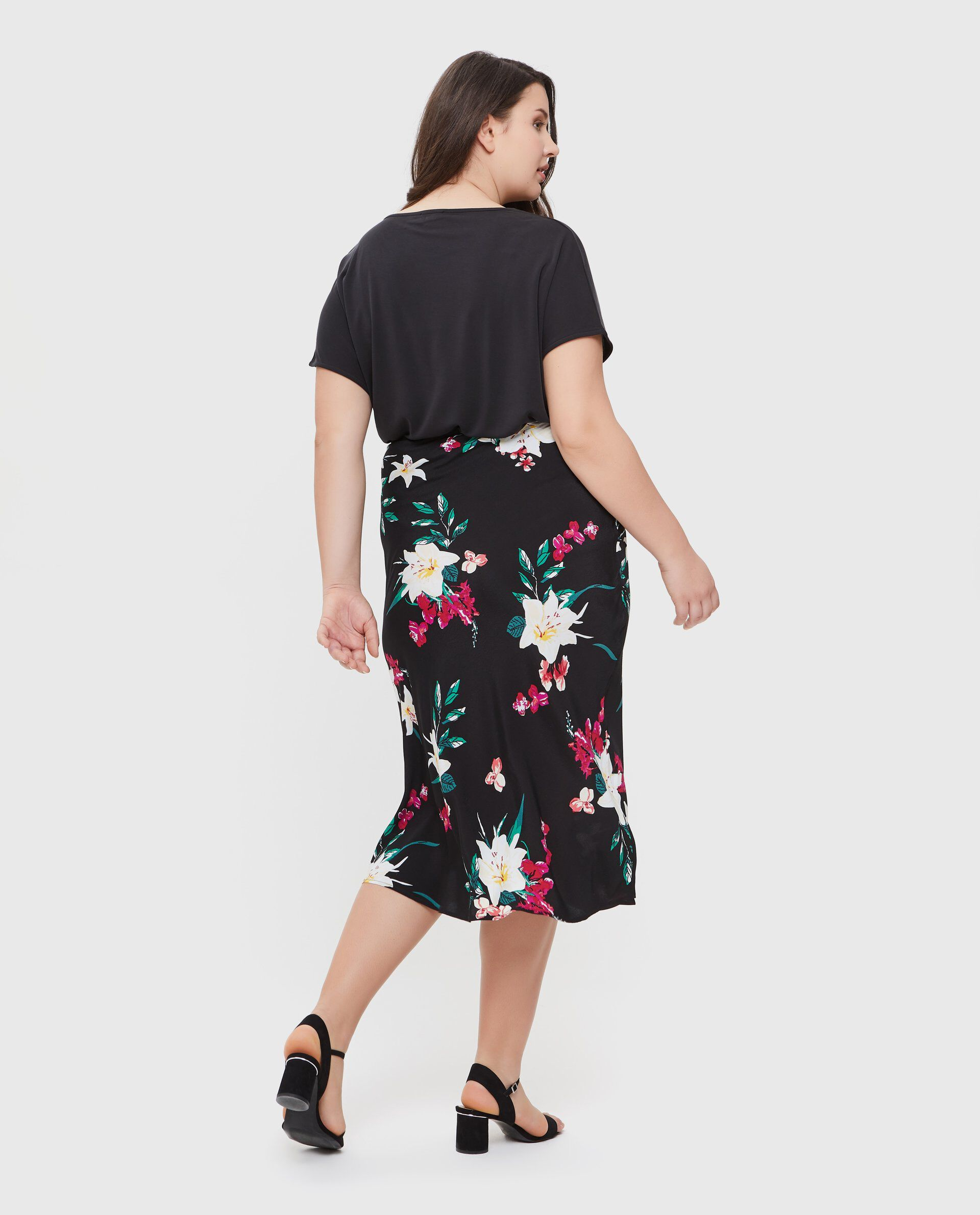 Gonna in pura viscosa con fantasia floreale Curvy donna