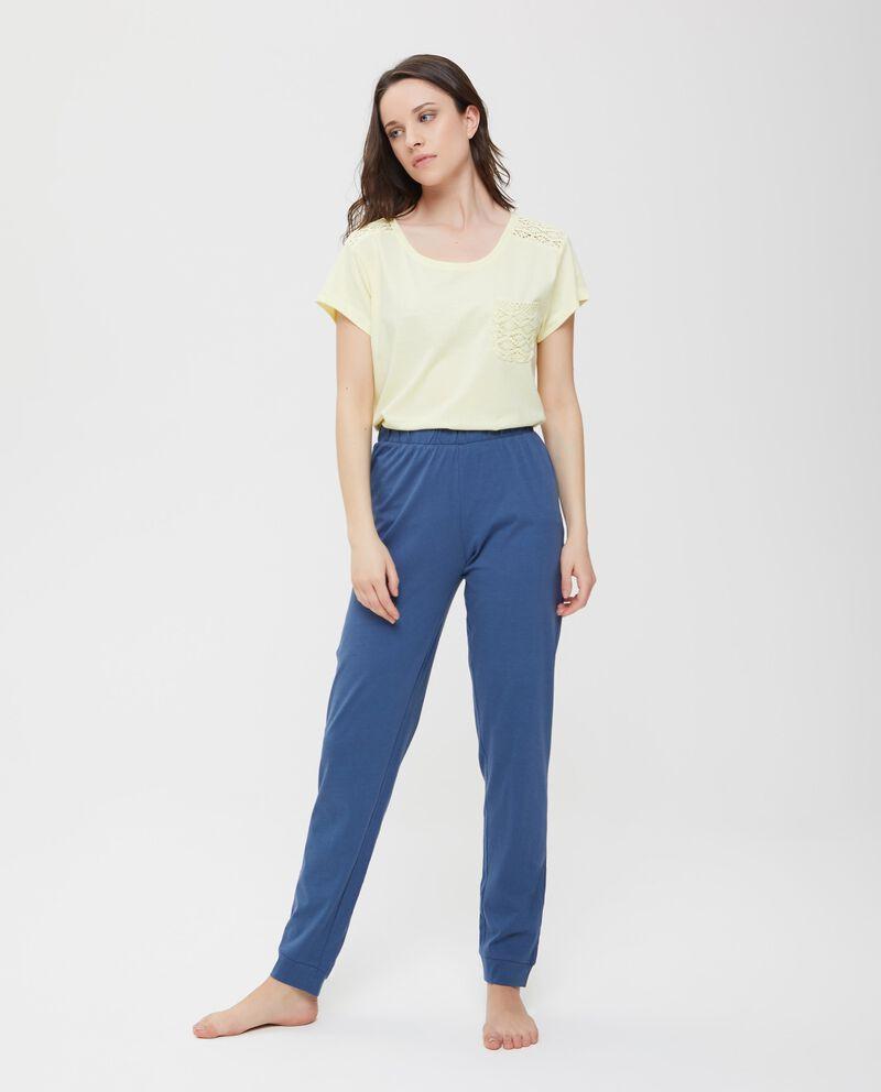 Pantaloni pigiama cotone tinta unita