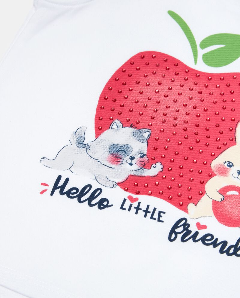 T-shirt con strass e glitter in cotone jersey organico neonata