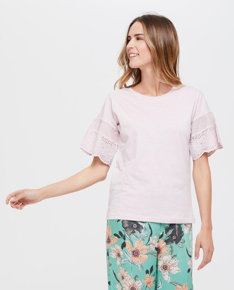Maglietta maniche corte donna in puro cotone con ricamo