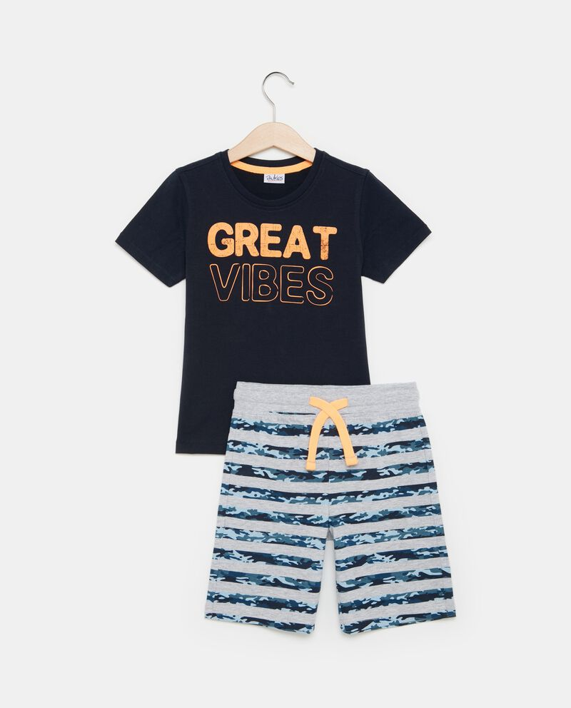 Set t-shirt lettering e shorts bambino
