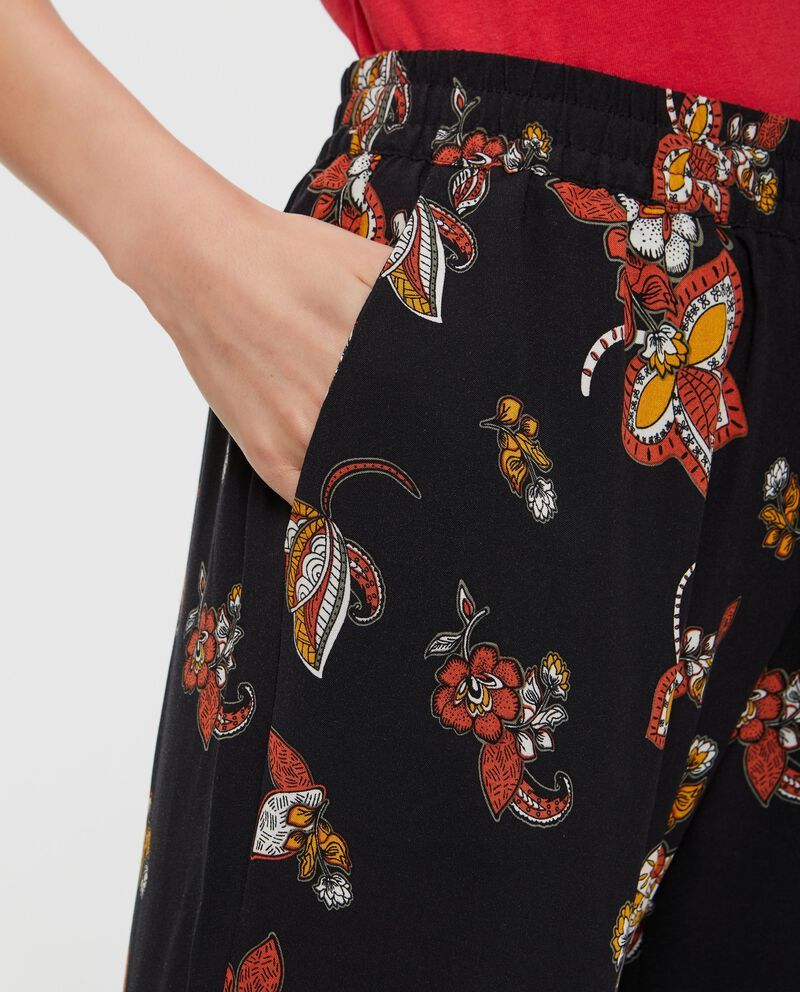 Pantaloni palazzo in pura viscosa donna fantasia floreale