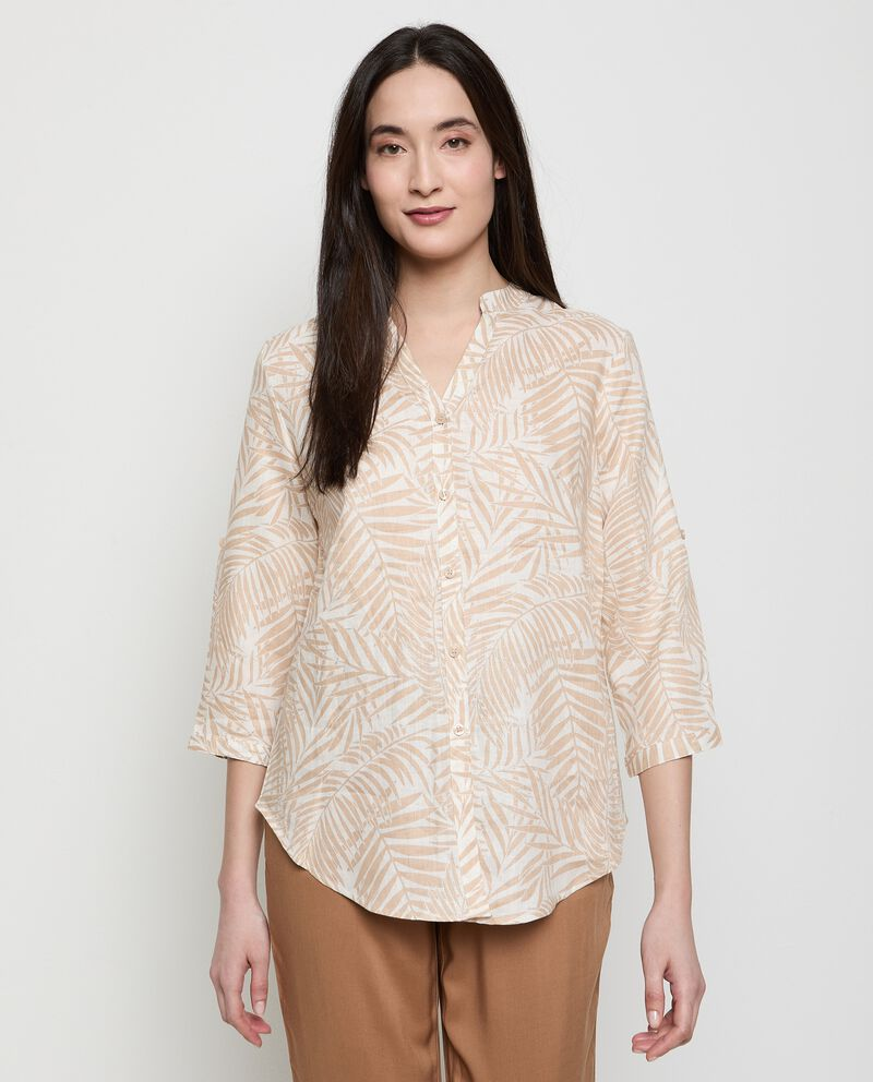 Camicia stampata in puro lino donna cover