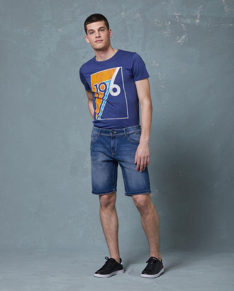 Shorts in denim slim fit effetto used