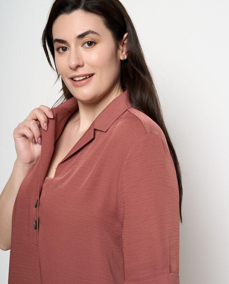 Camicia con rever in tinta unita Curvy donna
