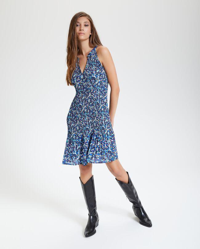 Vestito corto plissé donna