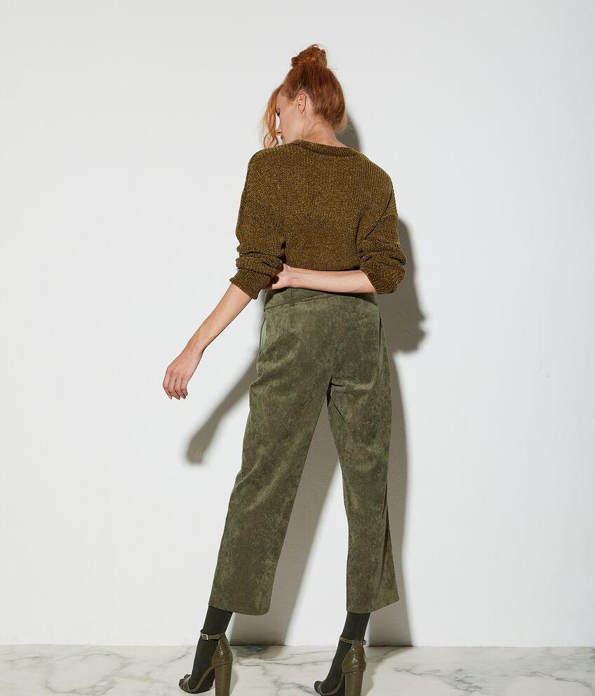 Pantaloni a palazzo effetto velluto donna
