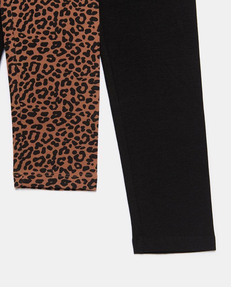 Bipack con 2 leggings di cotone biologico stretch ragazza single tile 1