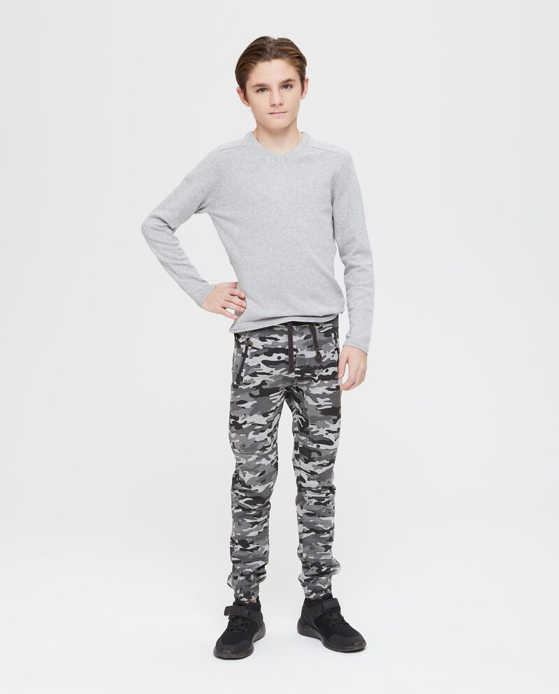 Pantaloni tasche con zip camouflage