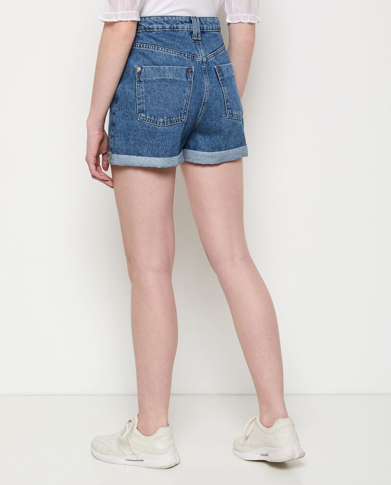 Shorts denim in puro cotone donna
