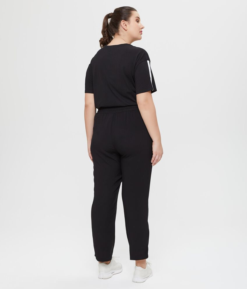 Pantaloni elasticizzati neri in tinta unita Curvy