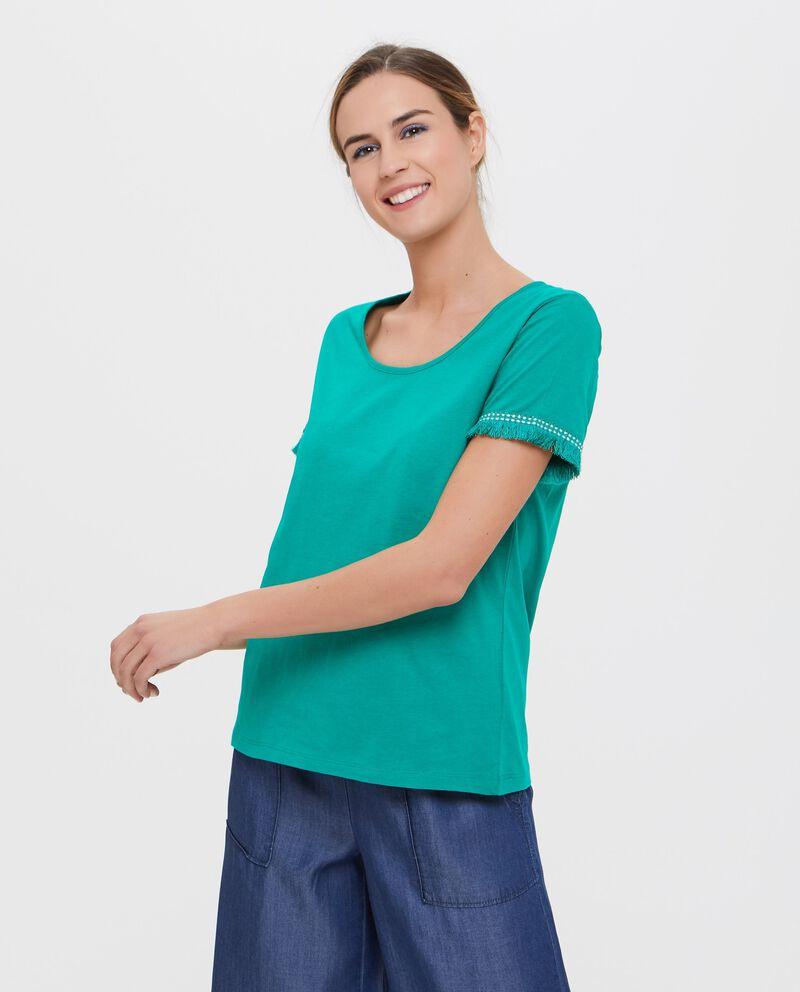 T-shirt in puro cotone con maniche sfrangiate donna