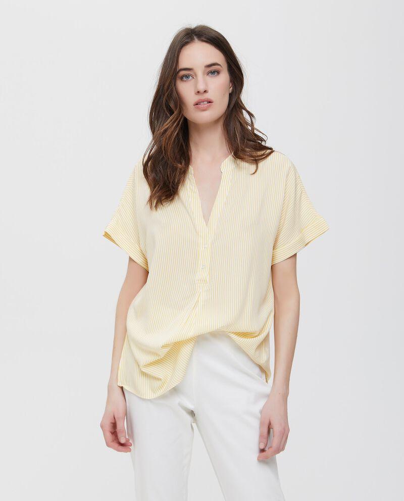 Camicia in pura viscosa a righe gialle
