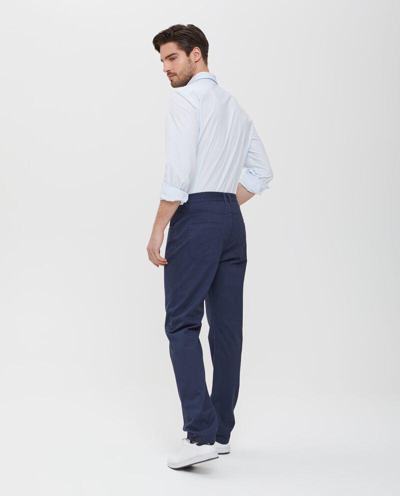 Pantaloni blu in cotone tinta unita uomo
