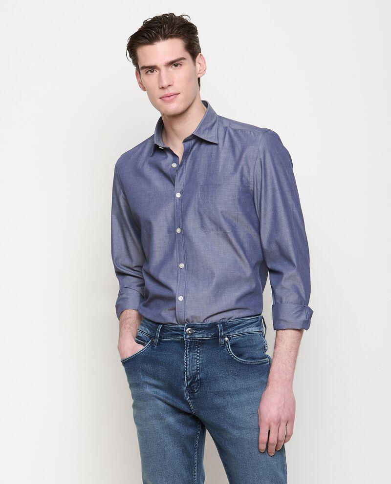 Camicia tinta unita in cotone uomo