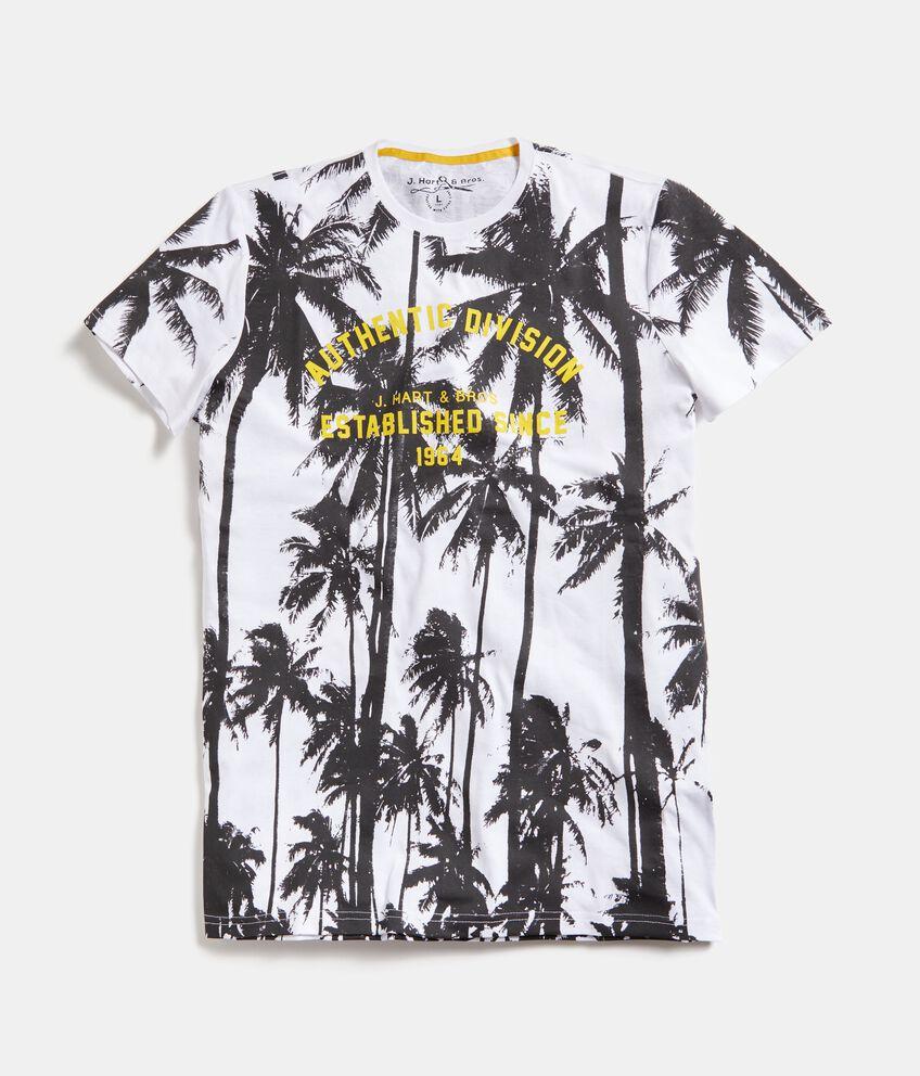 T-shirt in puro cotone con stampa palme uomo double 1