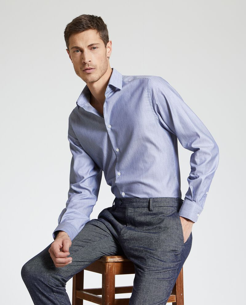 Camicia fantasia geometrica uomo in puro cotone