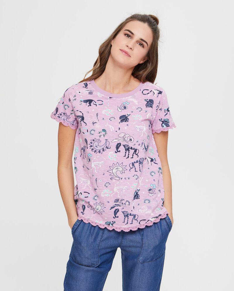 T-shirt in puro cotone in fantasia con macramè