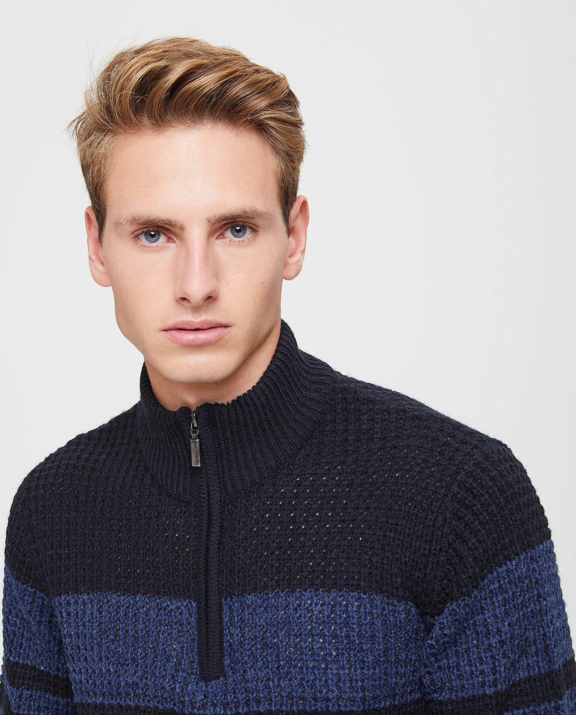 Pullover tricot con zip a righe