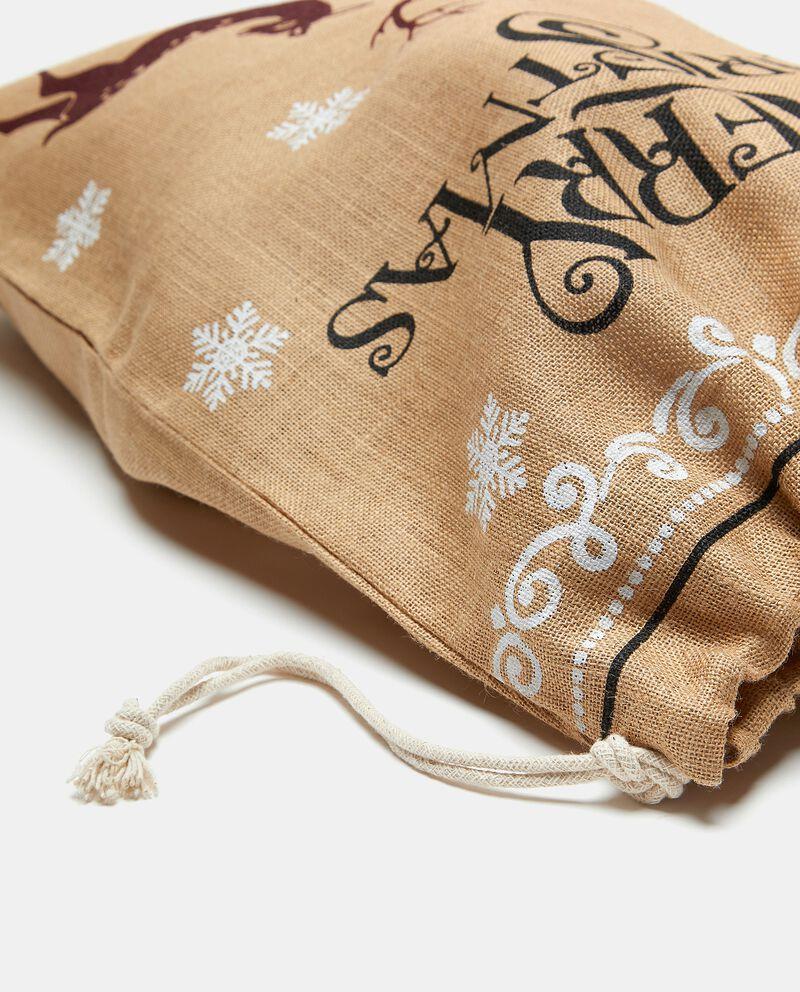 Sacco regali in iuta con stampa renne e fiocchi di neve