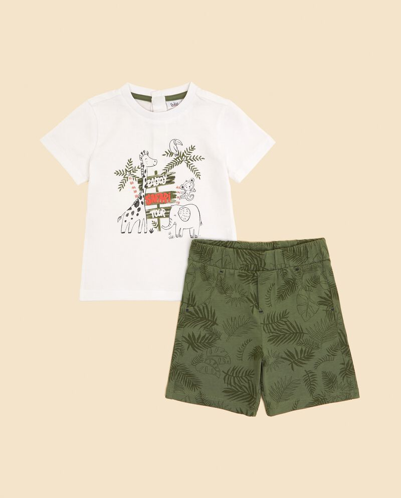 Set in puro cotone t-shirt e bermuda neonato