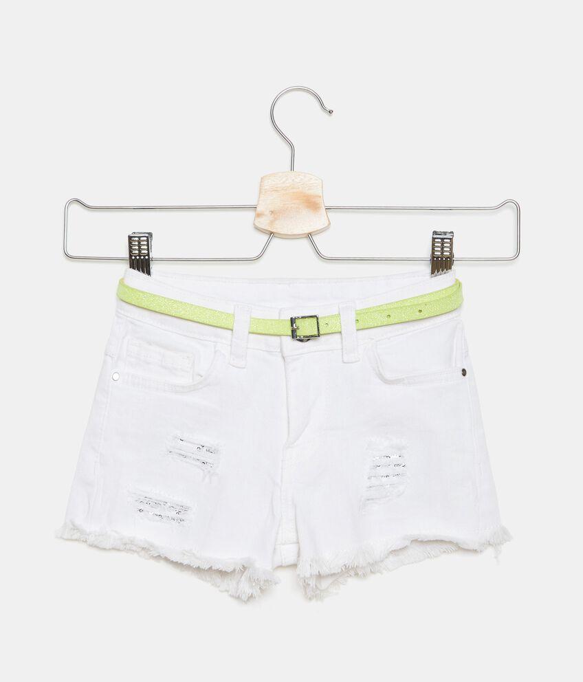 Shorts denim in cotone elasticizzato bambina