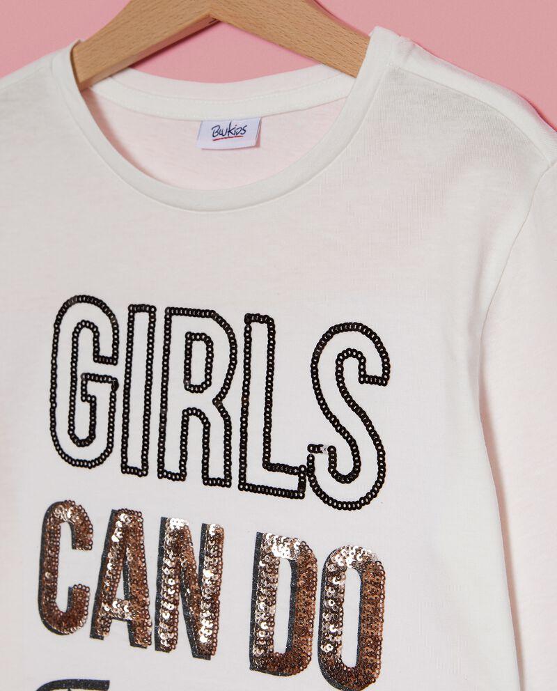 Maglietta con lettering paillettes ragazza