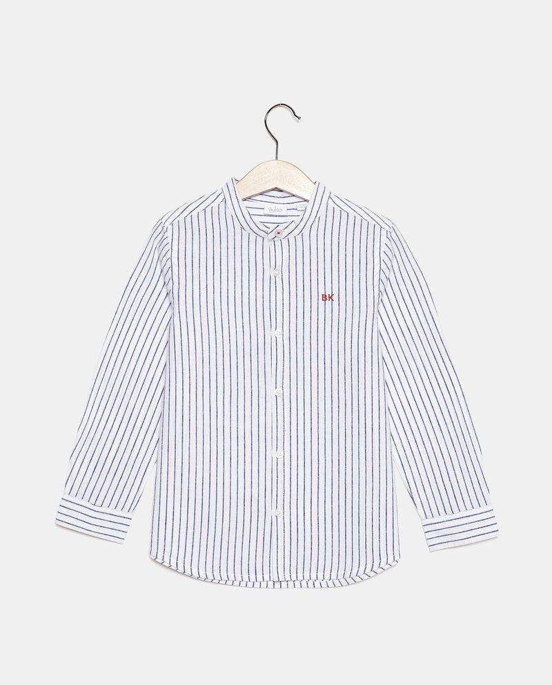 Camicia rigata in cotone misto lino bambino cover