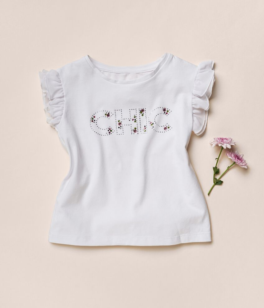 T-shirt in cotone stretch con strass MADE IN ITALY