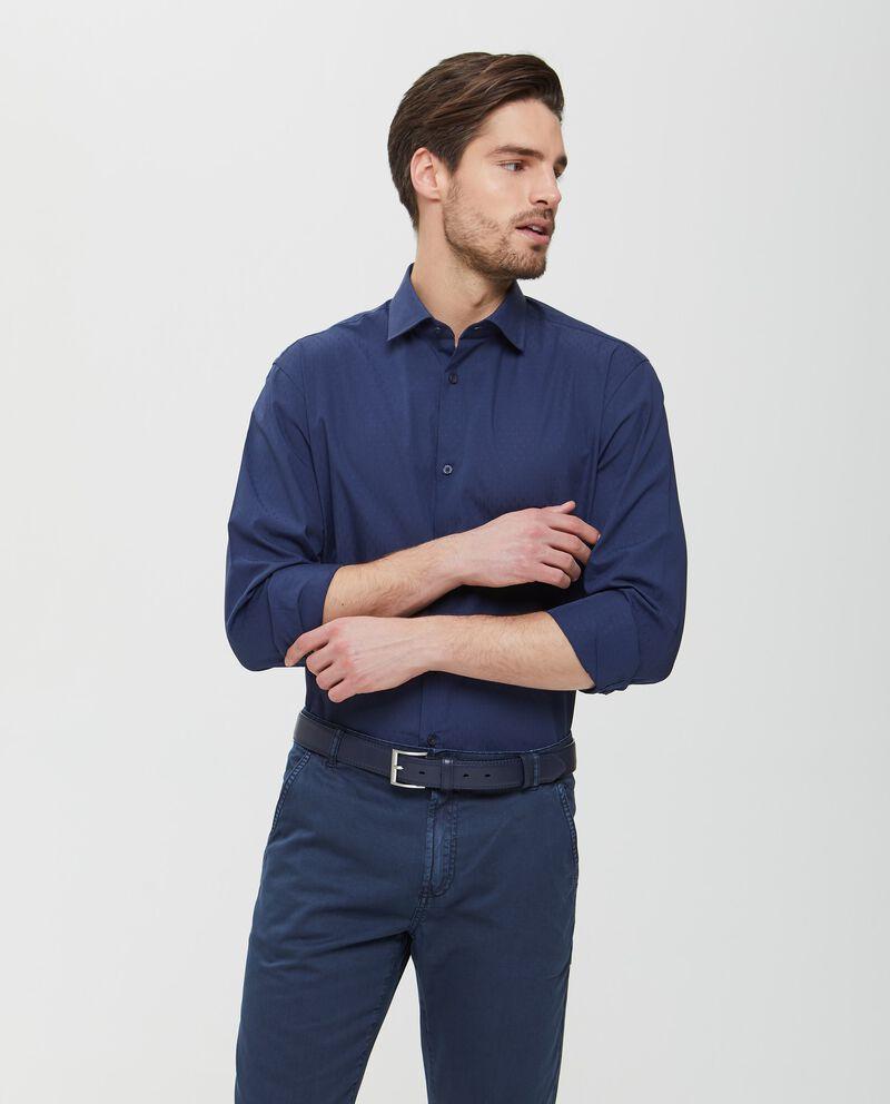 Camicia in puro cotone blu a micro fantasia uomo