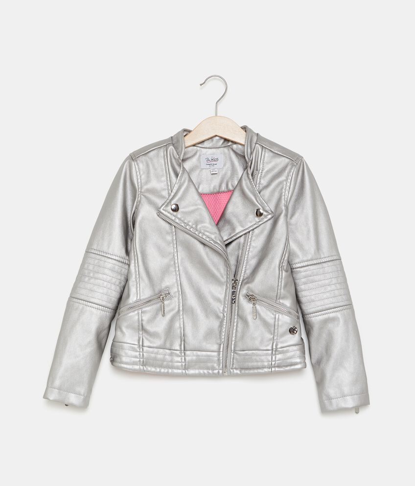Giacca biker in similpelle bambina